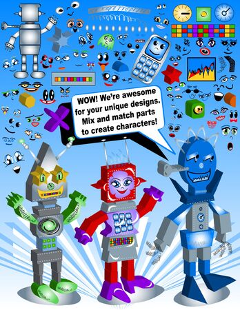 Retro Robot Toy Set - Create your own character! photo
