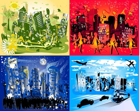 Think Green, Shoppin Girls, Night Life, Busy Travel  - Four Highly Detailed Cityscapes photo