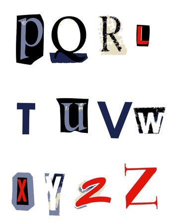 ransom: ransom alphabet font p-z