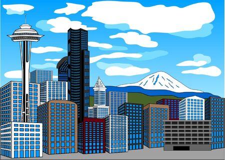 Seattle Landmarks CityScape Stock Photo - 3394859