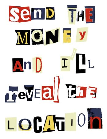 ransom: word collage ransom letter Stock Photo