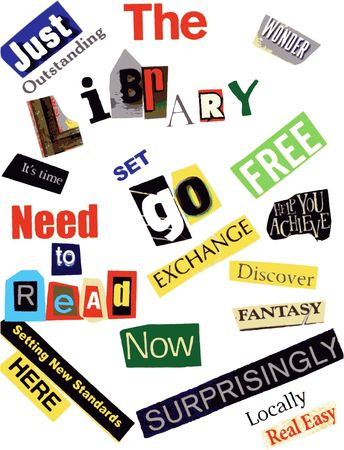 library word collage photo