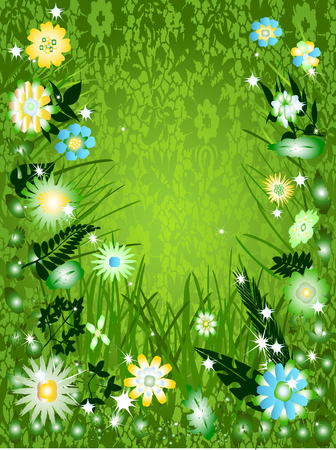 Think green daisies frame Vector