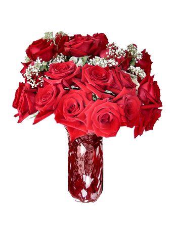 dozen: Dozen red romantic roses Stock Photo
