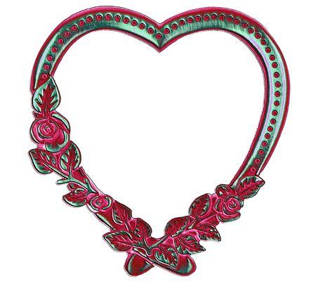 vintage retro frame: vintage antique heart frame