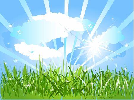 bordering: Think green - A sunny day Stock Photo