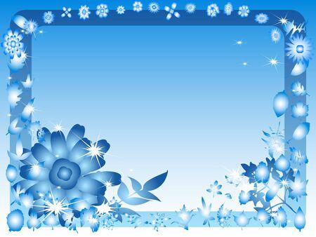 bordering: Blue floral background