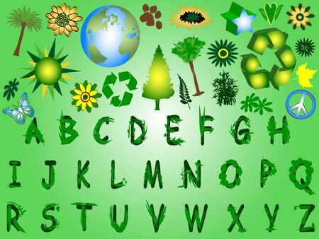 Leaves Font with Elements Stock Photo - 3442896