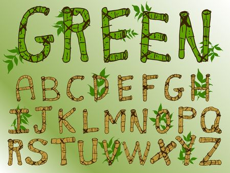 Natural Green Theme Bamboo Font