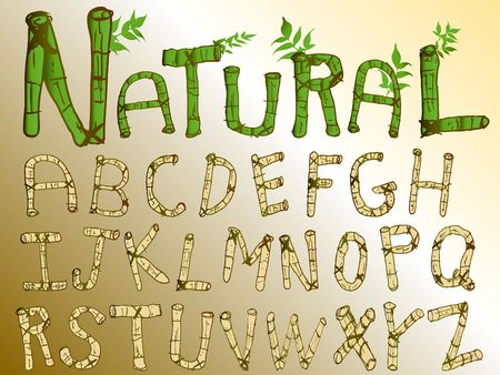 fonts vector: Think green bamboo font