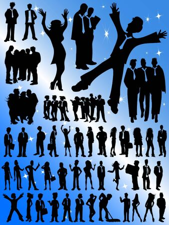 talker: Successful Business People Silhouettes - Huge Selection! Stock Photo