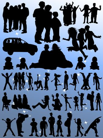 Happy Families Silhouettes - Huge Selection! Stock Photo - 3638733