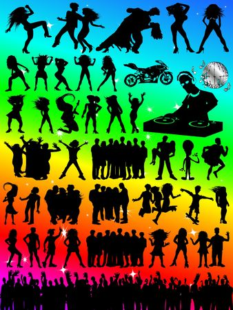 disk jockey: Party Fun People Silhouettes - Huge Selection!