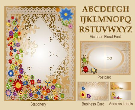 stationery border: Victorian Floral - Stationery Set