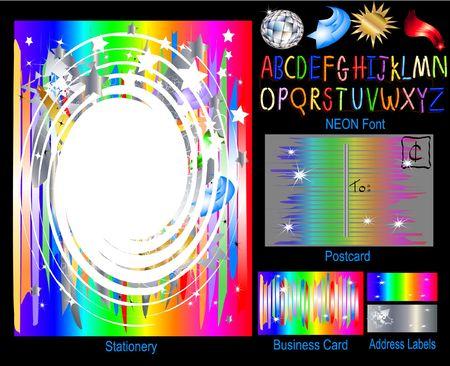 rainbow: Rainbow Party - Stationery Set
