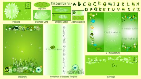 illustrates: THINK GREEN - Stationery Set Stock Photo