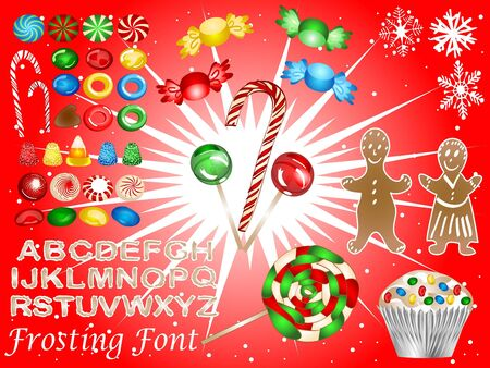 Christmas candy cookie elements - with frosting font photo
