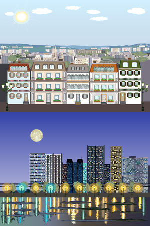 Parisian Style European Generic Buildings vector illustration - Day to Night Vector Kit