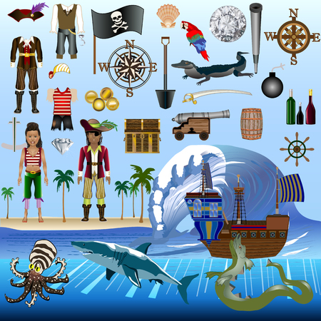 Pirate Elements Vector Kit  Characters with Detailed Costumes  Objects Animals and Elements  For print, web, apps, games, media