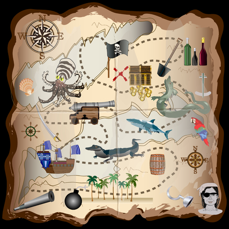 Pirate Map Elements Vector Kit  Use these elements to make your own map  For print, web, apps, games, media Illustration