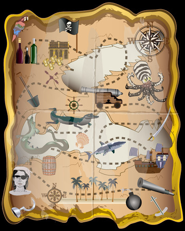 Pirate Map Elements Vector Kit - Use these elements to make your own map - For print, web, apps, games, media Illustration
