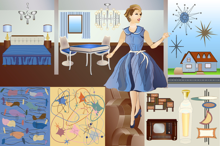 Mid Century Mod Vector Kit - Backgrounds Objects Furniture Character & Elements