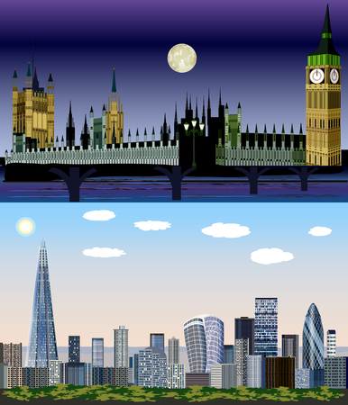 London, United Kingdom, Europe - Day to Night Vector Kit Illustration