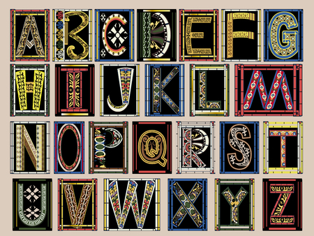 Highly Ornate Gold Illuminated Medieval Vector Font Alphabet Kit Ilustrace