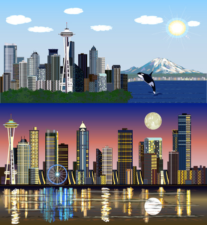 Seattle, Washington, USA - Day and Night Vector Skylines Set Çizim