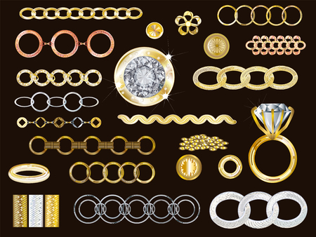 14k Gold, White Gold, Rose Gold & Silver Jewelry Vector Collection