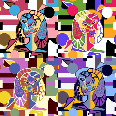 Abstract Faces Seamless Vector Pattern - Piezas de arte originales en un fondo de pantalla sin costuras que se repite - Cuatro opciones de color para usar juntas, por separado o para cambiar su tema