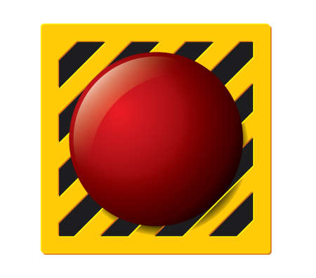 click here: Launch button in red on a yellow and black panel