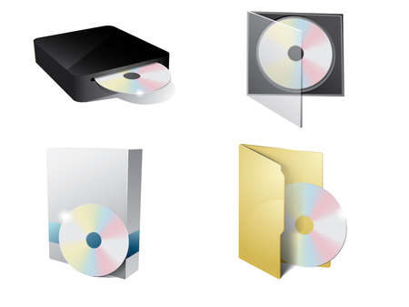 dvd player: CD Icon with folder, cd-rom and paper box