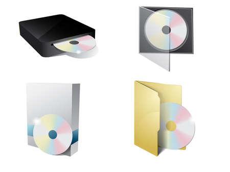 Icona del CD con casella cartella, CD-ROM e carta