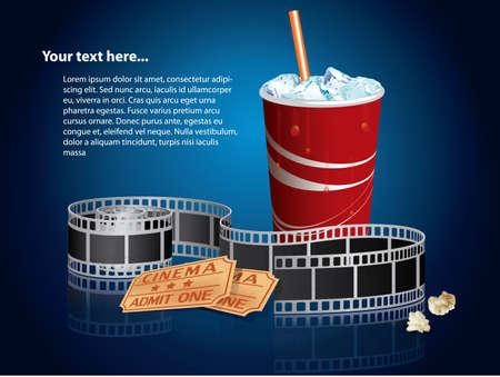 Soda, filmstrip and tickets  矢量图像