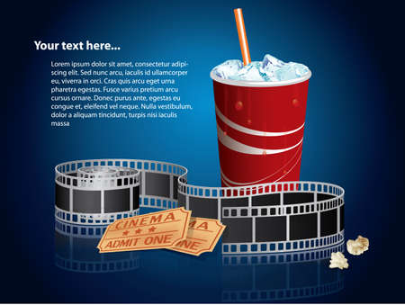 movie screen: Soda, filmstrip and tickets  Illustration