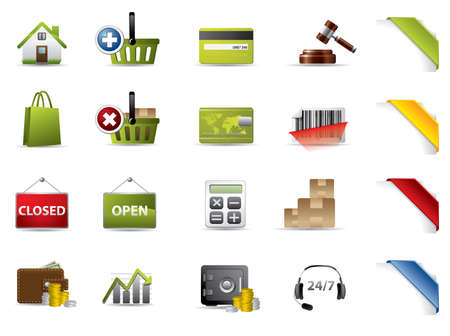 rubbish cart: Shopping and auctions icons  Illustration