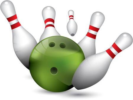 ten pin bowling: Bowling ball crashing into the pins Illustration