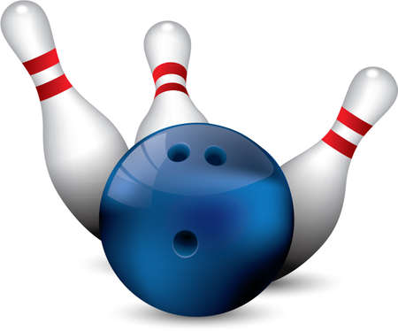 10 number: Bowling ball crashing into the pins Illustration