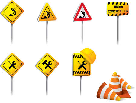 traffic cones: Set of Under construction signs vector Illustration