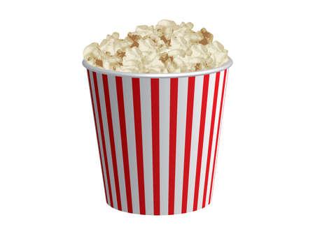 popcorn: Classica scatola di popcorn bianco e rosso scatola isolata su sfondo bianco