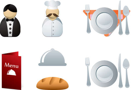 sushi plate: Restaurant icons  Illustration