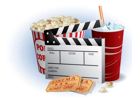 popcorn: Soda, filmstrip e biglietti