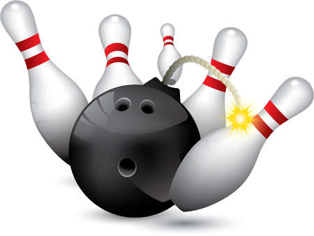 ten pin bowling: Bowling ball bomb crashing into the pins Illustration