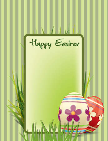 Easter postcard with ornate eggs end grass Stock Vector - 9362731