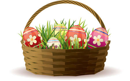 wicker basket: Easter basket with painted eggs in fresh grass