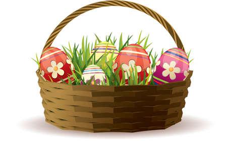 giftbasket: Pasen mand met beschilderde eieren in vers gras