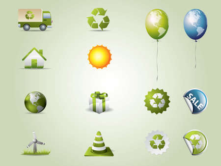 Eco icons set Stock Vector - 9407907
