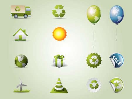 Eco icons set 矢量图像