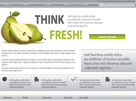Vector grey-green website with pear Vector
